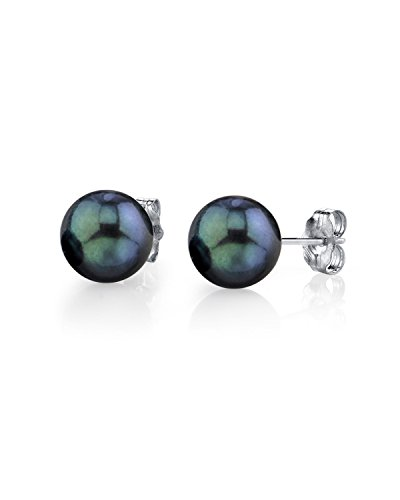 THE PEARL SOURCE 14K Gold 7-7.5mm AAA Quality Round Black Akoya Cultured Pearl Stud Earrings for ()