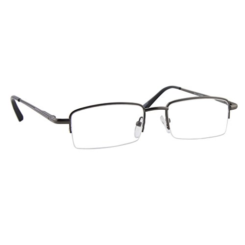 Reading Glasses Metal Half Frame _ Gunmetal Readers for Men and Women _ Comfort Spring Arms & Dura-Tight Screws _ 100% Guarantee - Frames Brand Reading Glasses Name
