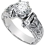 Classy! High Fashion! Women's 14k White-gold Moissanite & Diamond Engagement Ring