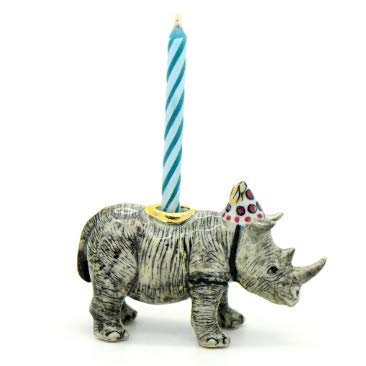 CampHollow White Rhino Party Animal Candle Holder Hand Painted Porcelain Birthday Supplies Ceramic Animal African Rhino Candle