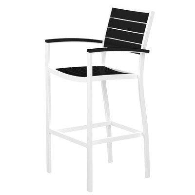 Arm Euro Bar Stool - Euro Bar Arm Chair Finish: Textured White, Seat and Back Finish: Black