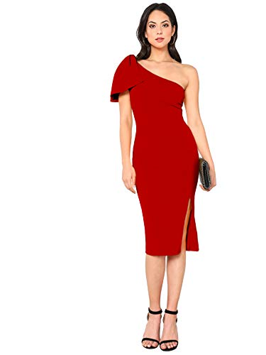 Shoulder Ruffle Party Cocktail Bodycon Midi Dress Red L ()