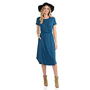 iconic luxe Women's Short Sleeve Flare Midi Dress with Pockets in Solid and Floral – Made in USA