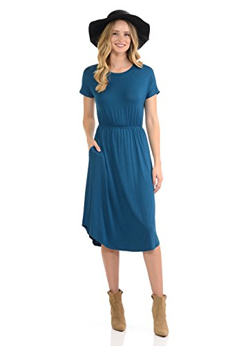 iconic luxe Women's Solid Short Sleeve Flare Midi Dress with Pockets Small Teal Banded Bottom Jersey Dress