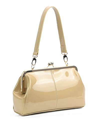 Vintage Kiss Lock Handbags Shiny Patent Leather Evening Clutch Purse Tote Bags with Chain Strap (Light ()