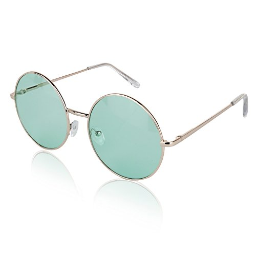 Sunny Pro Lightweight Circle Sunglasses For Women Hipster Fashion Glasses Green]()