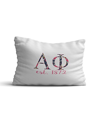 Desert Cactus Alpha Phi Sorority Floral Letters with Founding Year Pillowcase 300 Thread Count 100% Cotton A Phi by Desert Cactus
