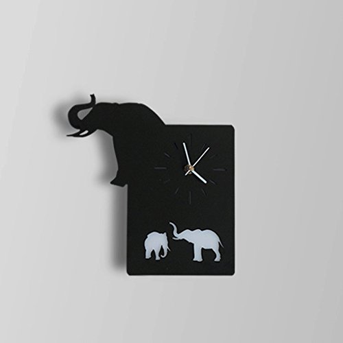 HY Wall Clock Wall Lamp- Living Room Bedroom Toilet Bar Cafe Corridor Animal Clock Wall Lamp (Color : Black Elephant) by HY