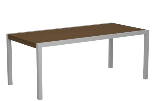 POLYWOOD 8300-11TE MOD 36″ x 73″ Dining Table, Textured Silver/Teak Review