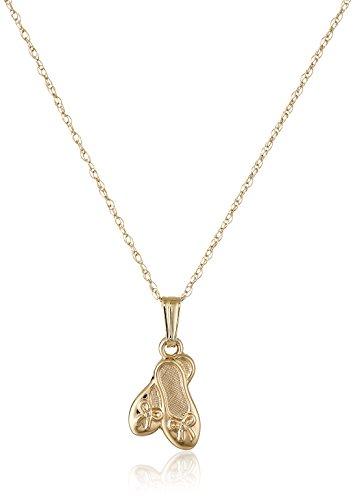 14k Slipper (Children's 14k Yellow Gold Ballet Slipper Pendant Necklace)