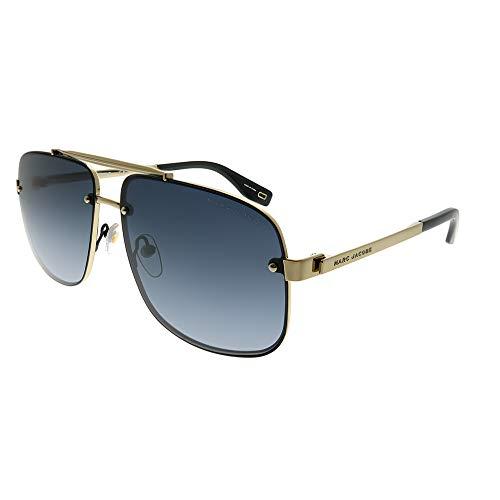 (Marc Jacobs Marc 318/S 2M2 9O Black Gold Metal Aviator Sunglasses Dark Grey Gradient Lens)