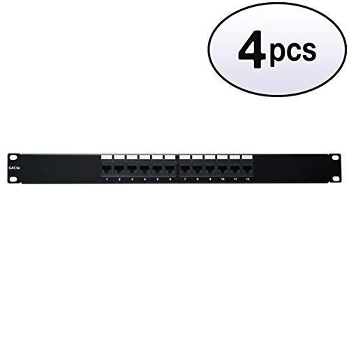 GOWOS (4 Pack) Rackmount 12 Port Cat5e Patch Panel, 12 Port, Horizontal, 110 Type, 568A & 568B Compatible, 1U