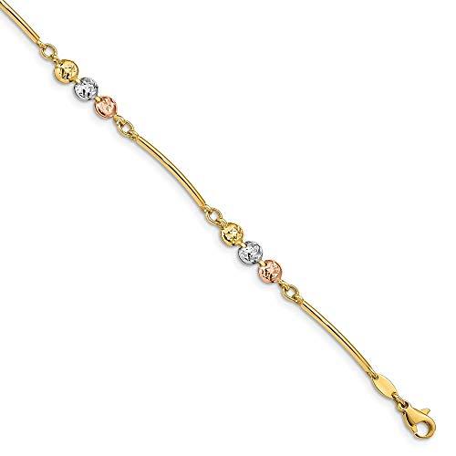 (14k Tri-color Polished and Textured Bracelet - 7.5 Inch)