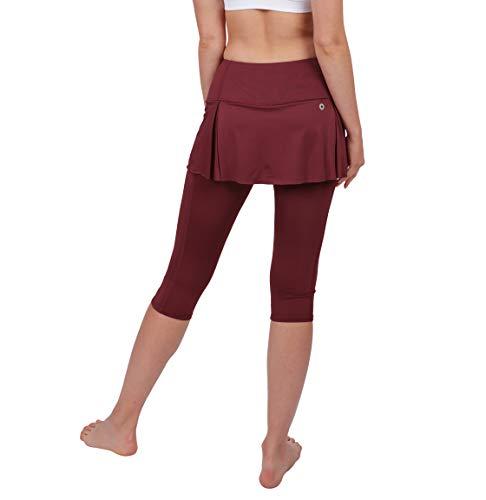 - Women Skirted Leggings High Waisted Capri Leggings with Pockets Yoga Pants Workout Red 12