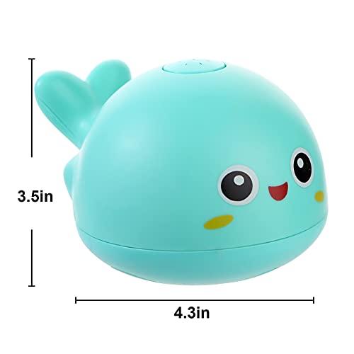 2021 Updated Baby Bath Toys, Light Up Bath Toys, Sprinkler Bathtub Toys for Toddlers Infant Kids Boys Girls, Whale Spray Water Bath Toy, Bathtub Shower Pool Bathroom Baby Toy (Green)