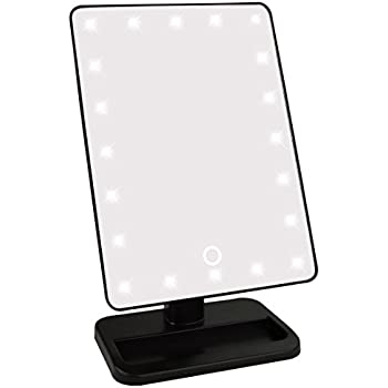 lighted makeup mirror jmkcoz smart touch screen 20 led lights makeup mirror with lights led lighted vanity mirrors table mirror 180 free rotation travel