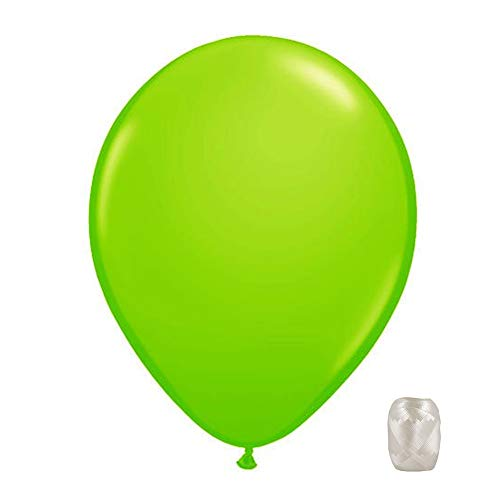 10 Pack 11 Inch Transparent Jewel Tone Latex Color Balloons with Matching Ribbons (Lime)