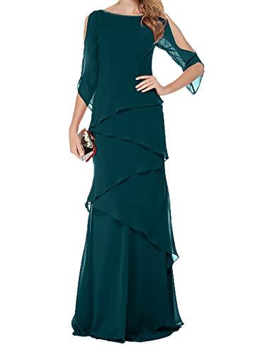 Gruen Partykleider Blau Ballkleider Brautmutterkleider Damen Festlichkleider Abendkleider Charmant Chiffon Langes wZZqSB