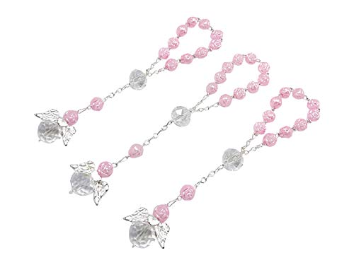 25 Pc Light Pink Color Baptism Favors with Angels Mini Rosaries Silver Plated Acrylic Beads/Recuerditos De Bautismo/Christening Favors/Decenarios/ Decades/Finger Rosaries (Pink Rosary For Party Favor)