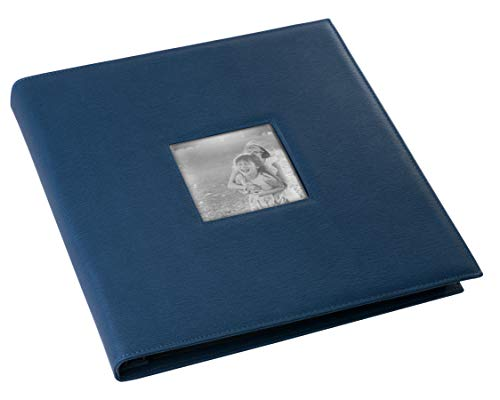 Red Co. Navy Faux Leather Family Photo Album with Front Cover Window Frame - Holds 600 4x6 Photographs