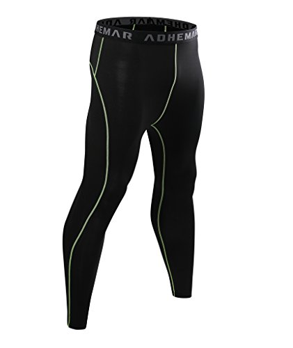 ADHEMAR Men's Running Leggings Fitness Workout Compression Pants Base Layer Tights Cool Dry Pants Black XXL