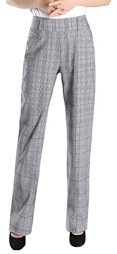 Foucome Plaid Dress Pants for Women- Bootcut Stretch High Waist Trousers with Belt Loops