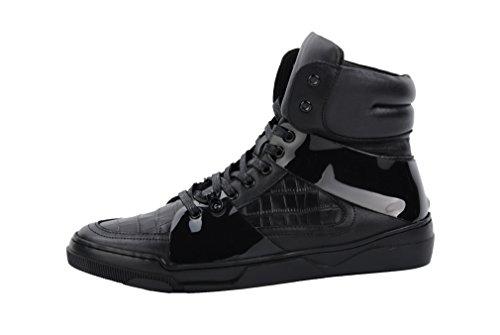 Santimon Herenmode Lederen Causale Schoenen High-top Sneaker Zwart