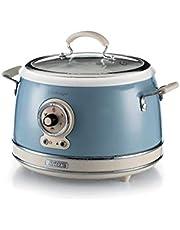Ariete 2904, Rice Cooker, rijstkoker slow cooker, stoompan, vintage lijn, 3,5 l, keramische coating, 650 W, lichtblauw