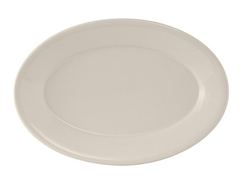Edge China Platter - Tuxton TRE-033 Vitrified China Reno Oval Platter, Wide Rim, Rolled Edge, 7