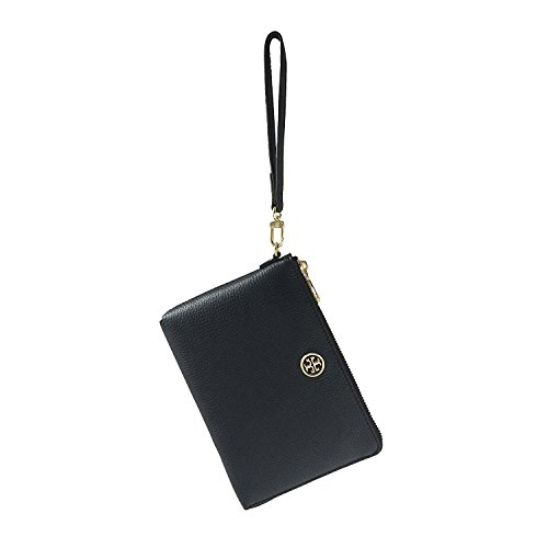 Tory Burch Landon Black Pebbled Leather Large L-Zip Wristlet Clutch by Tory Burch