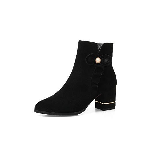 HOESCZS 2019 Frauen Stiefeletten Reißverschluss Deisgn Fashion Solid Spitz Echtem Quadratischen High Heel Damen Stiefel Größe 34-43