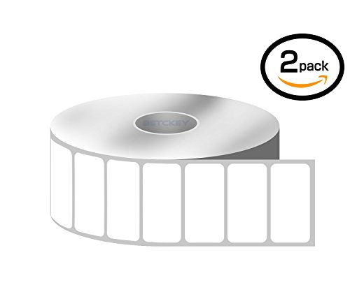 [2 Rolls, 2430/Roll] 1'' x 0.5'' Direct Thermal Zebra/Eltron Compatible Labels - Premium Resolution & Adhesive by BETCKEY