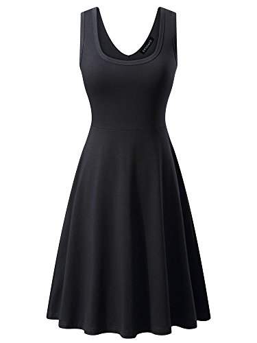 FENSACE Womens Sleeveless Scoop Neck Summer Beach Midi A Line Tank Dress, Black, Medium Casual Little Black Dress