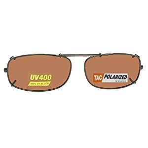 Skinny Curve Rectangle Polarized Clip On Sunglasses (Dark Bronze-Polarized Amber Lens, 48mm Width x 28mm Height)