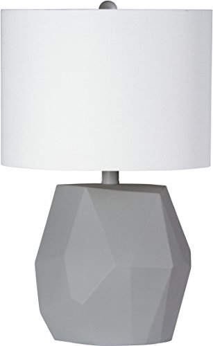 """Modern Table Lamp With White Shade - Textured Fabric - \""""Rock\"""" Style Resin-Coated Base with Concrete Finish - 12\"""" Diameter, 19\"""" High - Decorative Rocher by Virtue Home"""