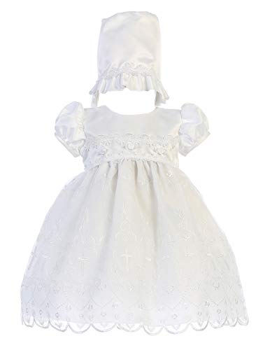 Baby Girls White Christening Baptism Dedication Dress Satin Organza Cross Bonnet (3-6 Months)