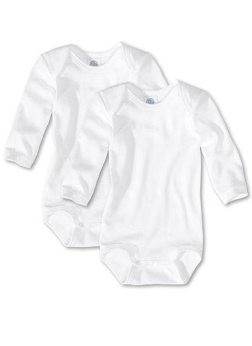 Sanetta Unisex - Baby Body 321861, 2Er Pack, Einfarbig, Gr. 56, Weiß (White 10)