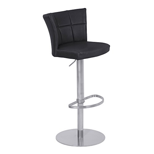 Encore Adjustable Metal Barstool in Vintage Black Faux Leather with Brushed Stainless Steel Finish - Armen Living