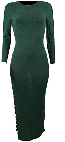 Zantt Women's Fall-Winter Ribbed Knit High Slit Bodycon Club Party Maxi Dress Green US S