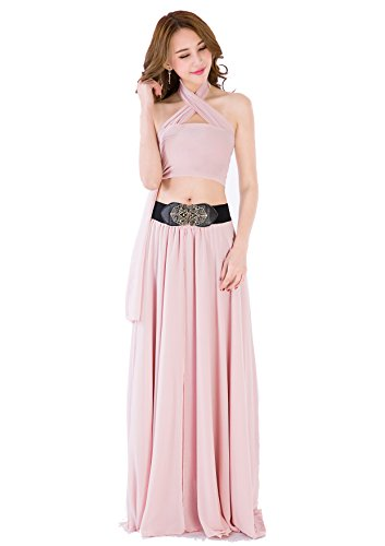 Sinreefsy Women Summer Chiffon High Waist Pleated Big Hem Full/Ankle Length Beach Maxi Skirt(XX-Large/Nude Pink)]()
