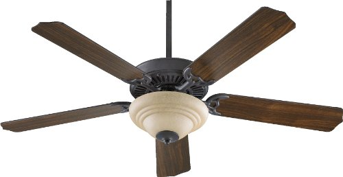 (Quorum International 77525-9444 Capri III 52-Inch 2 Light Ceiling Fan, Toasted Sienna Finish with Amber Scavo Glass Light Kit and Reversible Blades)