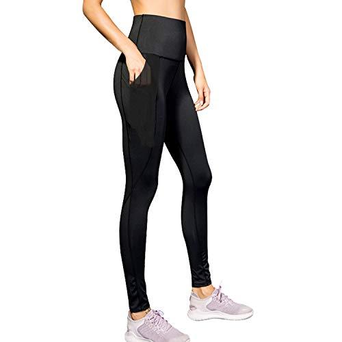 Sporzin Sport Leggings Damen mit Mesh und Taschen Lange Sporthose Damen Laufhose Elastisch Dehnbar Yoga Hose Sportsleggins Frauen Fitnesshose