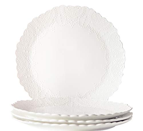 Dinner Plates Set of 4, Accent Serving Plates 10.2 Inch, Scalloped Embossed Porcelain Bone China, White for $<!--$29.99-->
