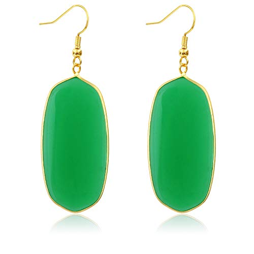 Stone Crystal Dangle Drop Earrings Teardrop/Oval Stylish Jewelry for Women Ladies Girls (Deep Green(Oval)) ()