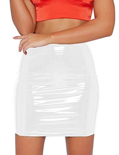 just quella Women's Classic High Waist Sexy Slim Mini Pencil Leather Skirts 9043 (White, XL)