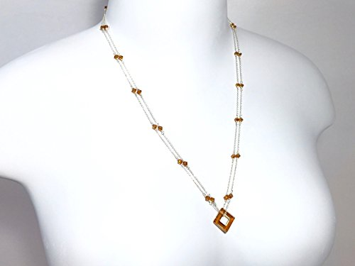 Sterling Silver Beaded Illusion Chain Necklace with Colorado Topaz Crystal Square Pendant
