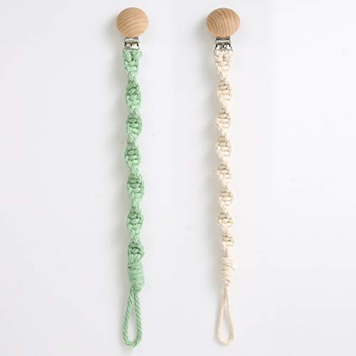 Macramé Baby Pacifier Clip-Hand Dyed Cotton Rope/Natural, Paci - Boho Baby Gift Set of 2 (Green and Beige)