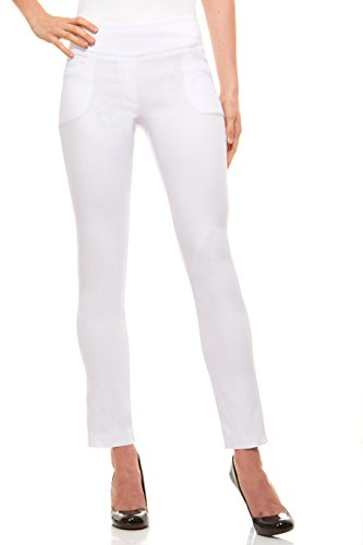 (Velucci Womens Straight Leg Dress Pants - Stretch Slim Fit Pull On Style, White-M)