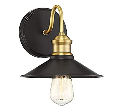 Trade Winds Lighting TW50004ORBNB Vintage Retro Industrial Outdoor Loft Wall Sconce, 100 Watts, in Bronze and Natural Brass