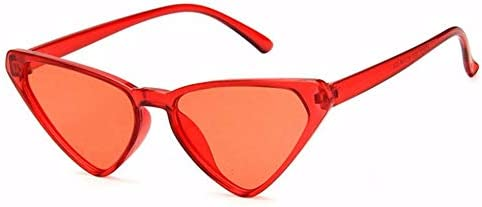 WSKPE Sonnenbrille Cute Sexy Damen Cat Eye Sonnenbrille Kleine Sonnenbrille Uv400 Roter Rahmen Rote Linse